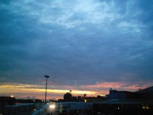 空港で見た夕焼け