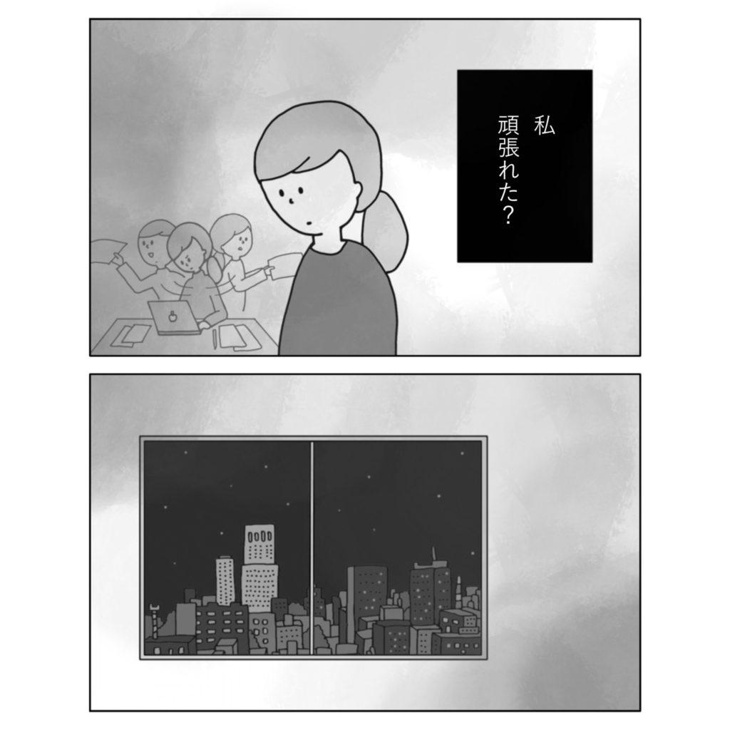 夜の会社 夜の東京 窓からみる 残業 働く 辛い 女性 女の子 まんが いらすと イラスト 漫画