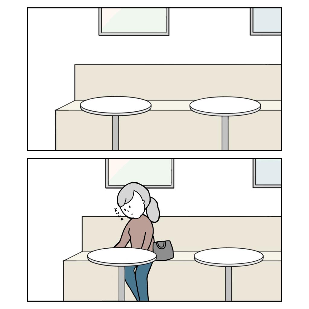 カフェ 考え事 悩み 一人かふぇ 女性 イラスト 漫画 いらすと