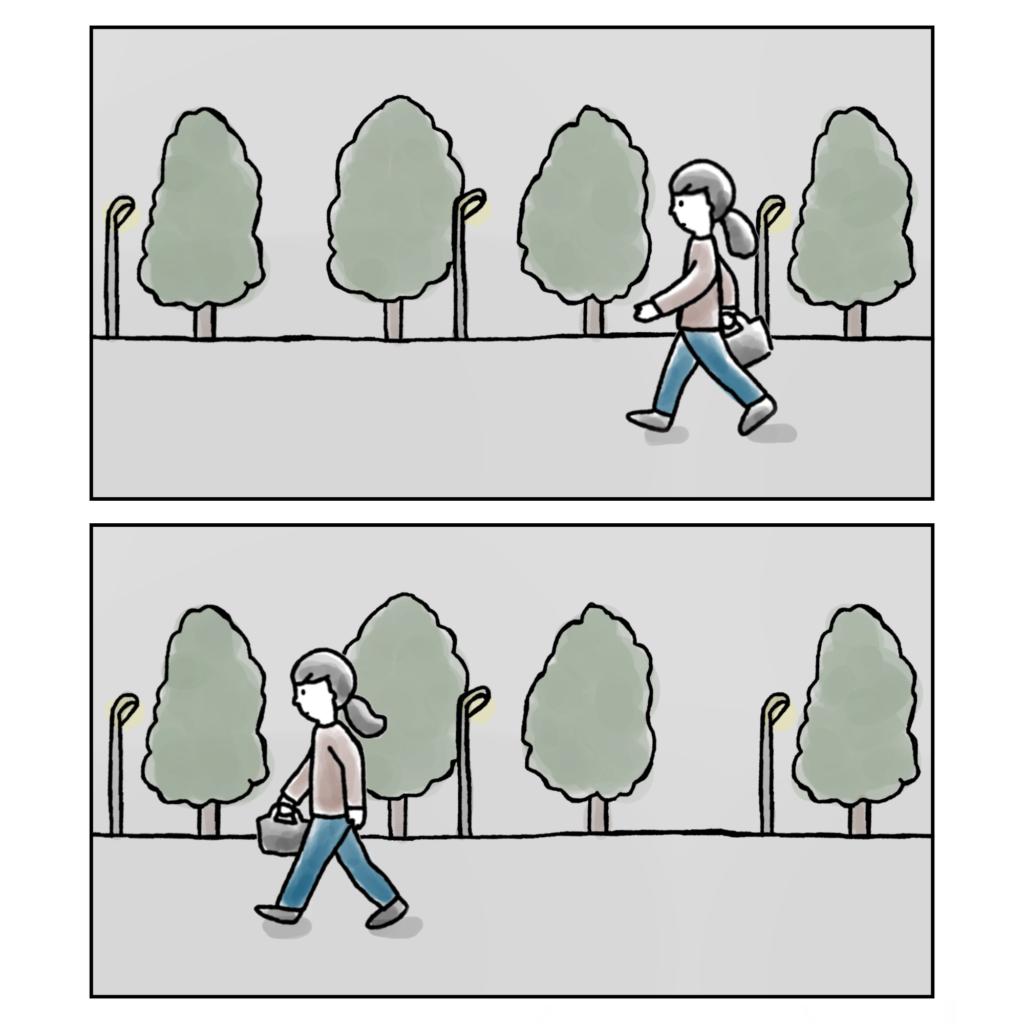 夜の森の中を一人で歩く