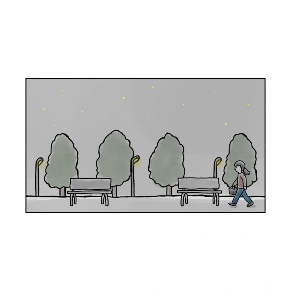 夜の公園のベンチ