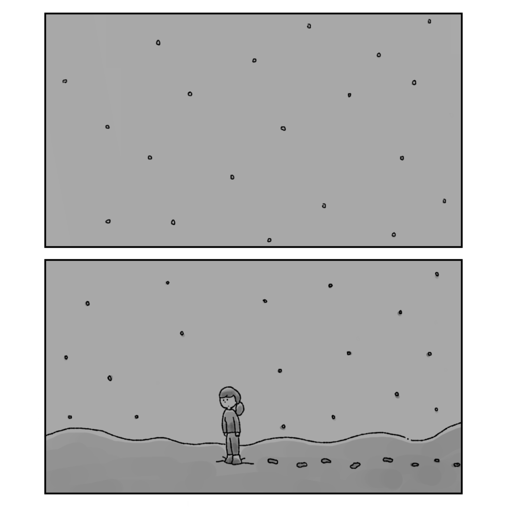 降り積もる雪 自分を信じる 女の子 女性 イラスト 漫画 いらすと