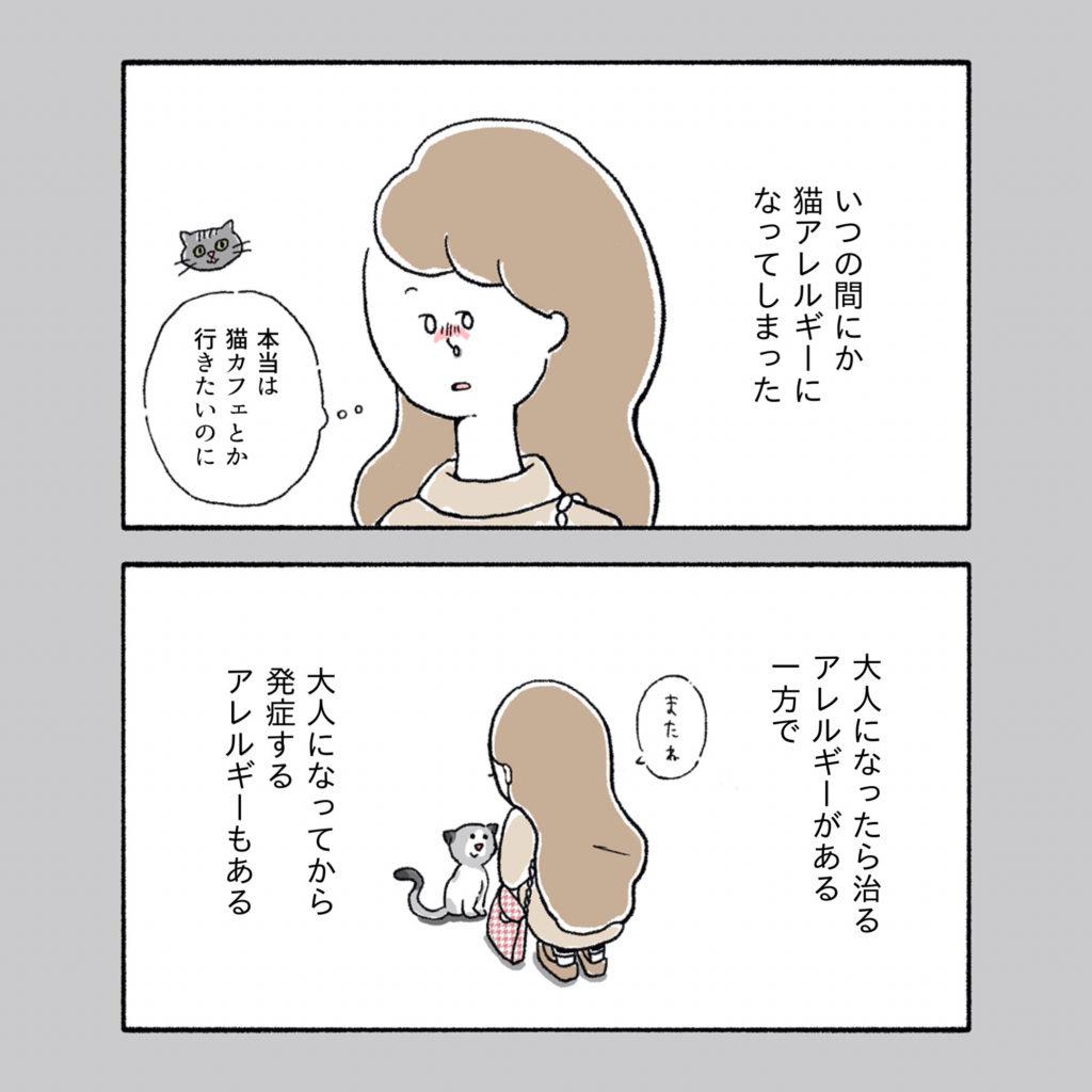猫アレルギー 発症 独身アラサー女子 イラスト