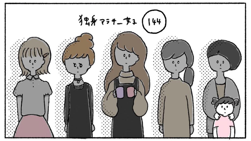 整列する アラサー女 女の子 女子 イラスト 漫画
